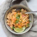 Baked Chicken Fajita Noodle Casserole - All the best chicken fajita flavors with peppers and onions, in casserole form! - ProjectMealPlan.com