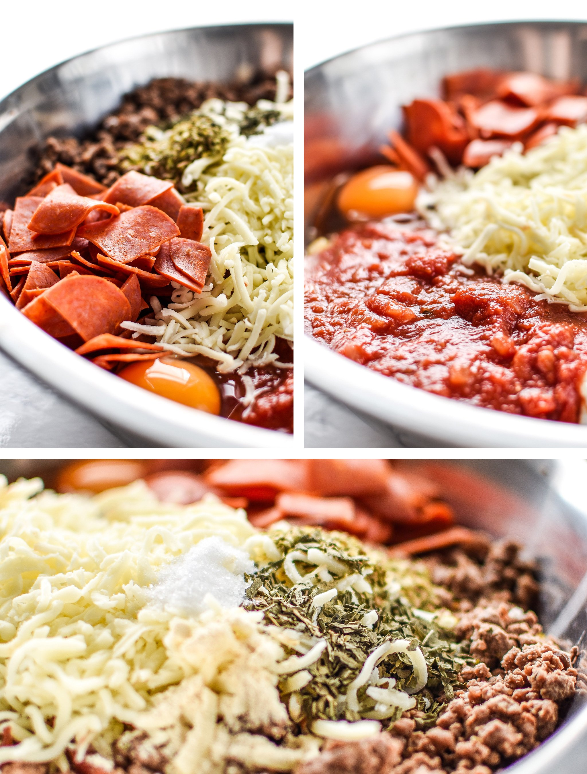All the ingredients for the Meat Lover's Spaghetti Squash Pizza Casserole - It's pizza, but morphed into a not-that-bad-for-you spaghetti squash casserole with meat lover's toppings! - ProjectMealPlan.com