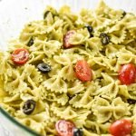 A big delicious bowl of Incredibly Easy Pesto Pasta Salad - just 6 simple ingredients for the best make-ahead side dish! - ProjectMealPlan.com