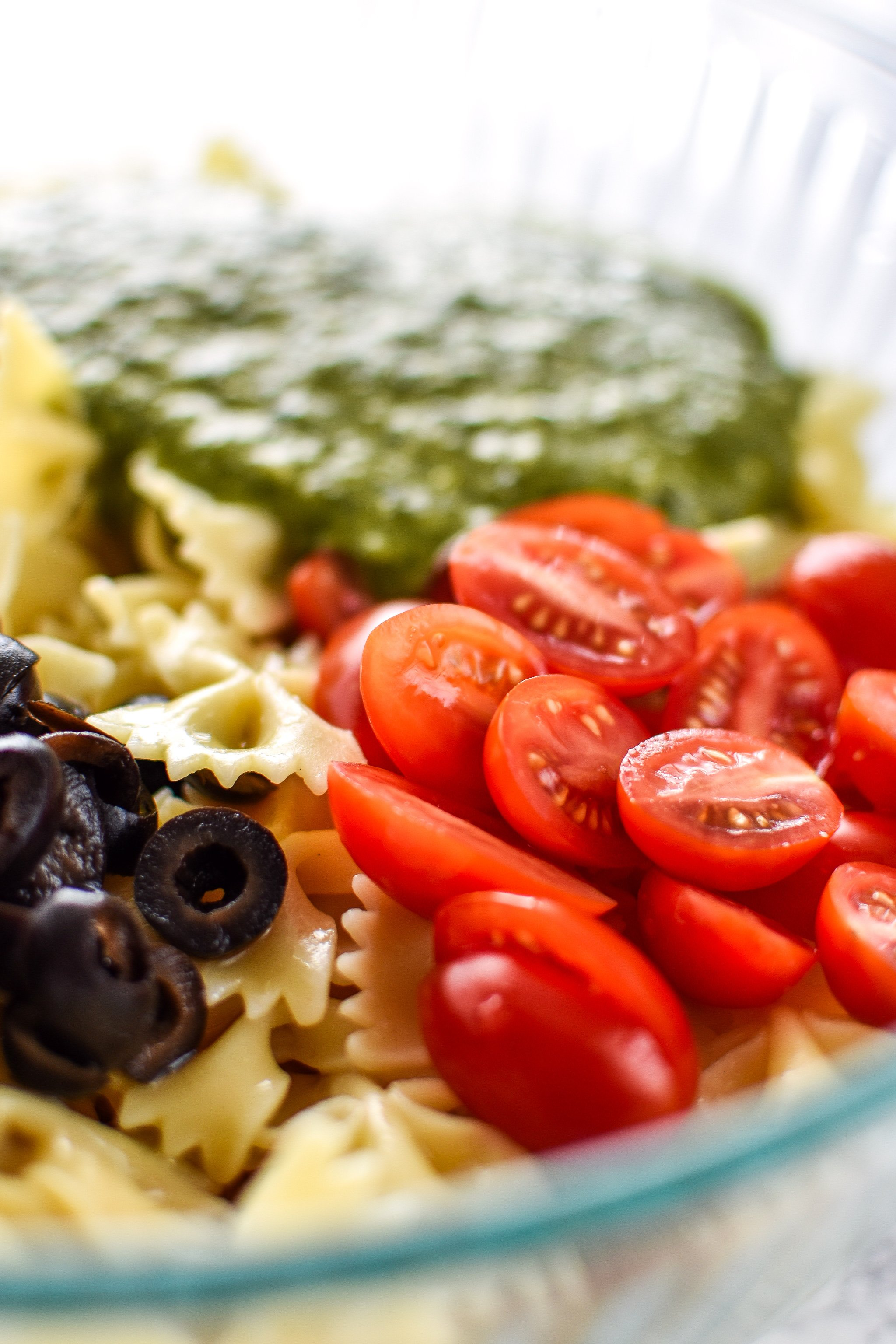All the ingredients ready for Incredibly Easy Pesto Pasta Salad - just 6 simple ingredients for the best make-ahead side dish! - ProjectMealPlan.com