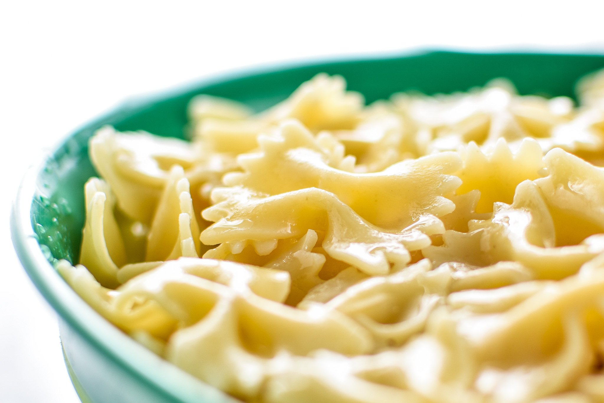 Cooked pasta ready for Incredibly Easy Pesto Pasta Salad - just 6 simple ingredients for the best make-ahead side dish! - ProjectMealPlan.com