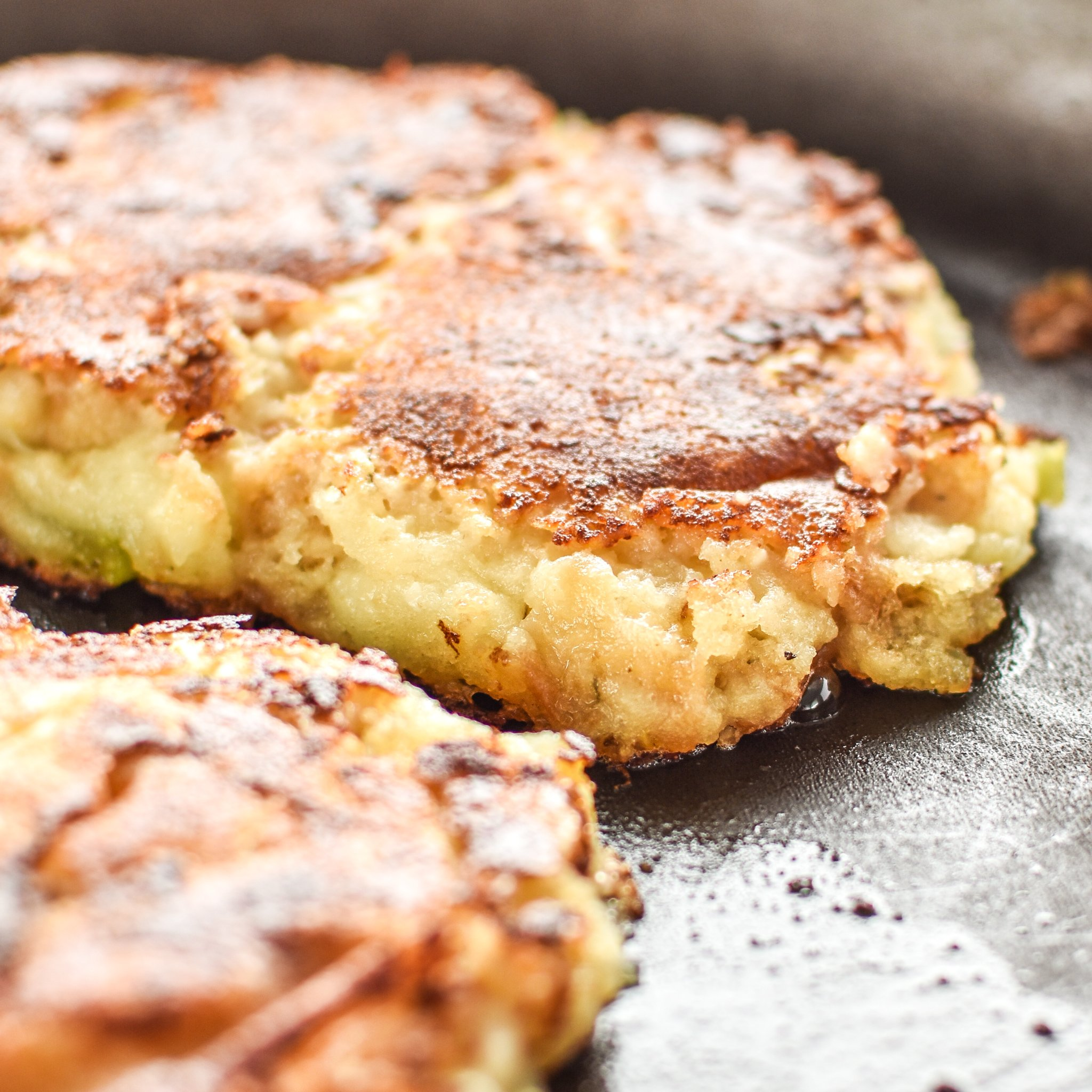 Mashed potato and stuffing pancakes in the frying pan
