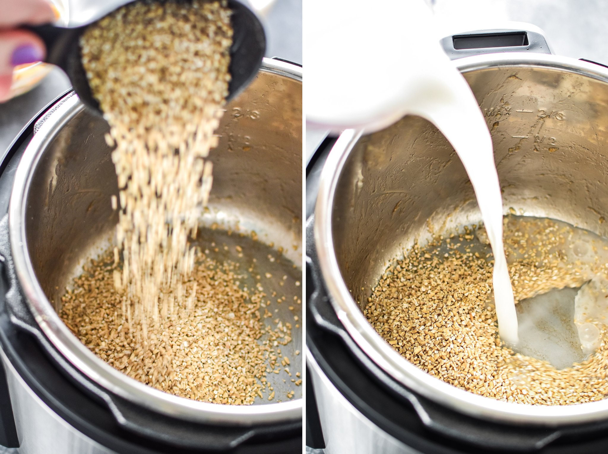 Left: Pouring steel cut oats into the Instant Pot. Right: Pouring milk and water liquid into the Instant Pot.