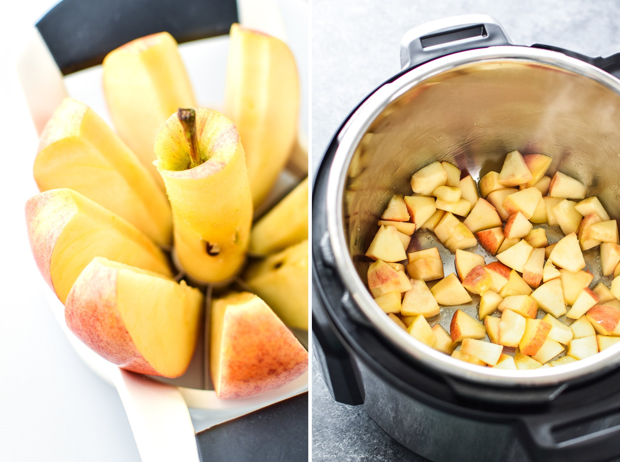 Left: Apple just cut with an apple cutter. Right: Cut apples cooking on saute in the Instant Pot.