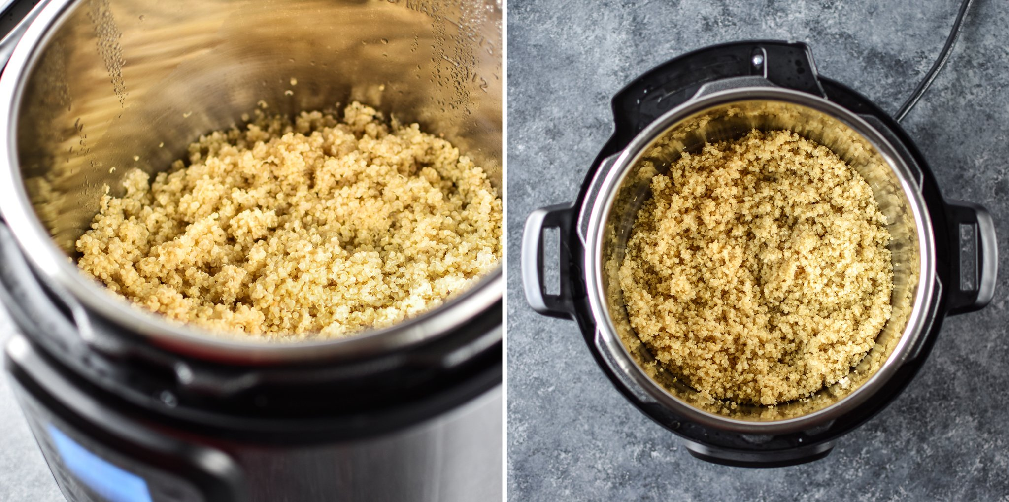 Cooked quinoa in the Instant Pot with two views - one seen from straight above and one from a side angle.