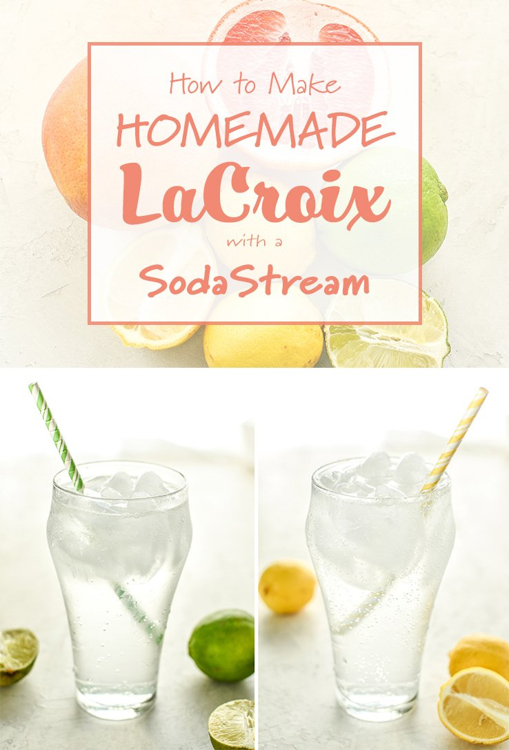Pinterest pin containing two images already shared above with title, How to Make Homemade La Croix with a SodaStream