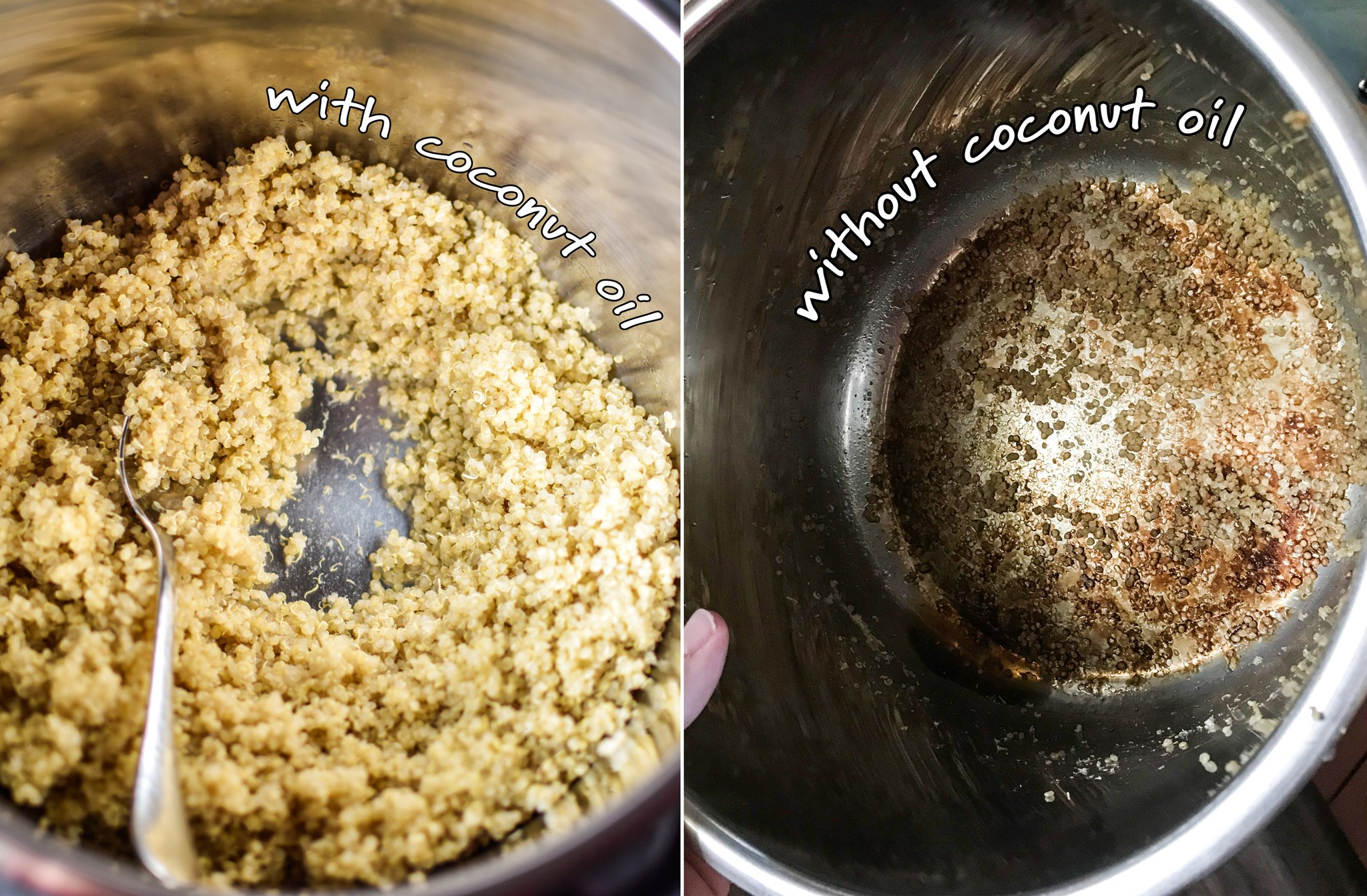 Two images showing the difference on the bottom of the pan when you use coconut oil versus when you don't. The left side without coconut oil is a bit more brown and dirty looking.