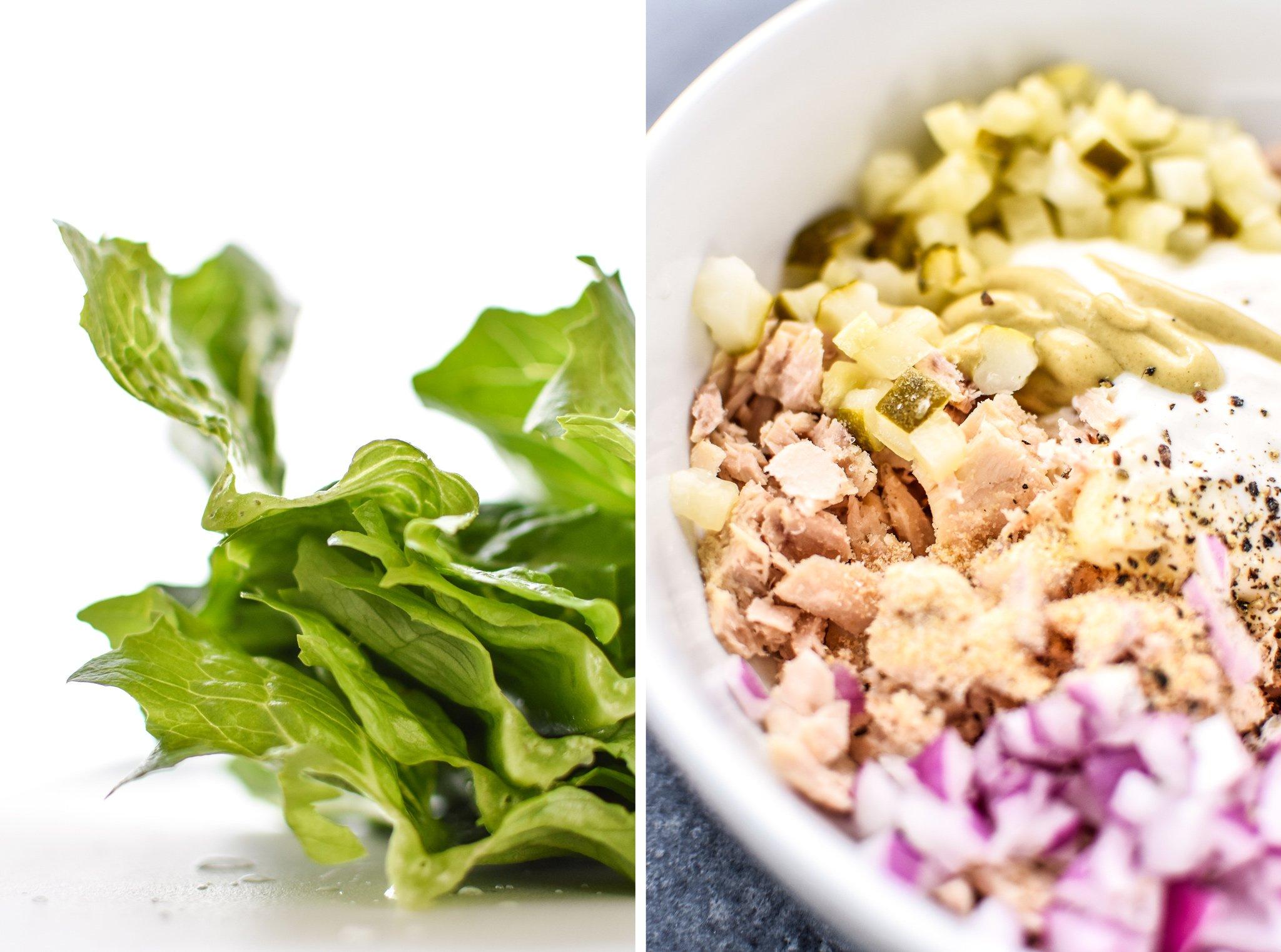 Left: Romaine lettuce laeves. RIght: Tuna Salad Lettuce Wraps Meal prep being prepared.