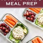 Rock the hot weather meal prep session with thisLow Carb Tuna Salad Lettuce Wraps Meal Prep lunch! It's a simple three serving meal prep of tuna salad with romaine lettuce wraps paired with fruits and veggies - healthy, easy, and no heating required! #projectmealplan #mealprep #coldlunch #tunasalad #lettucewraps