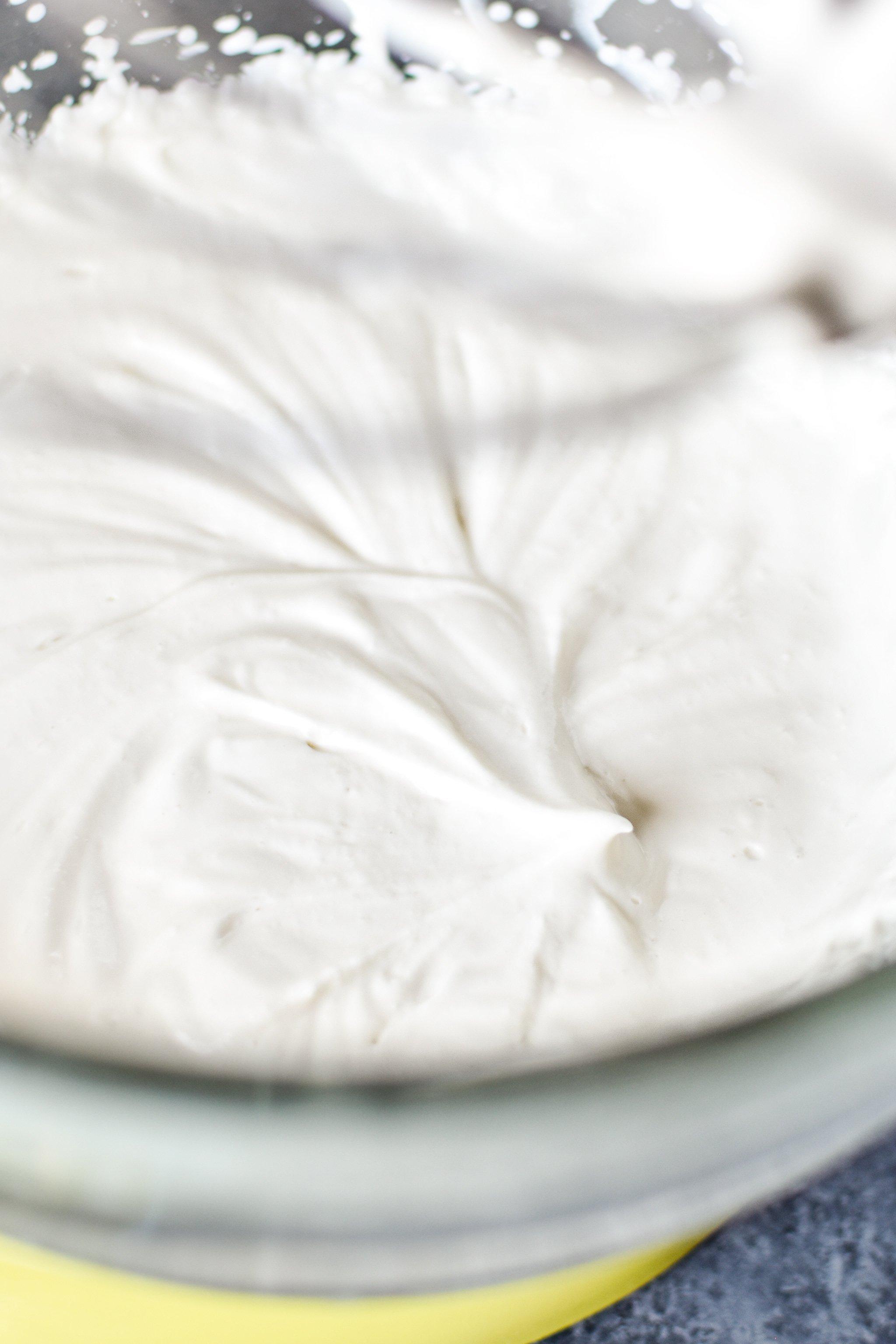 You want stiff-ish peaks when you make whipped Greek yogurt.