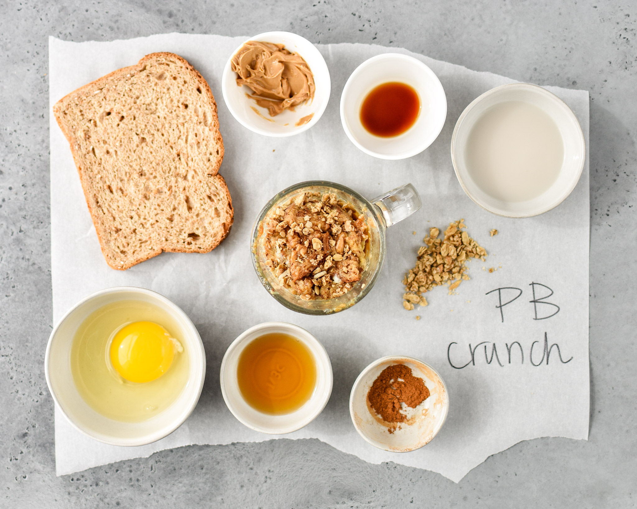 ingredients for PB crunch microwave mug french toast
