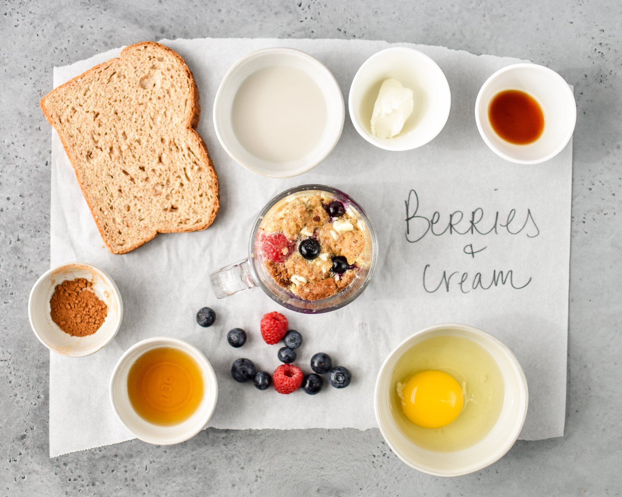 ingredients for the berries & cream microwave mug french toast
