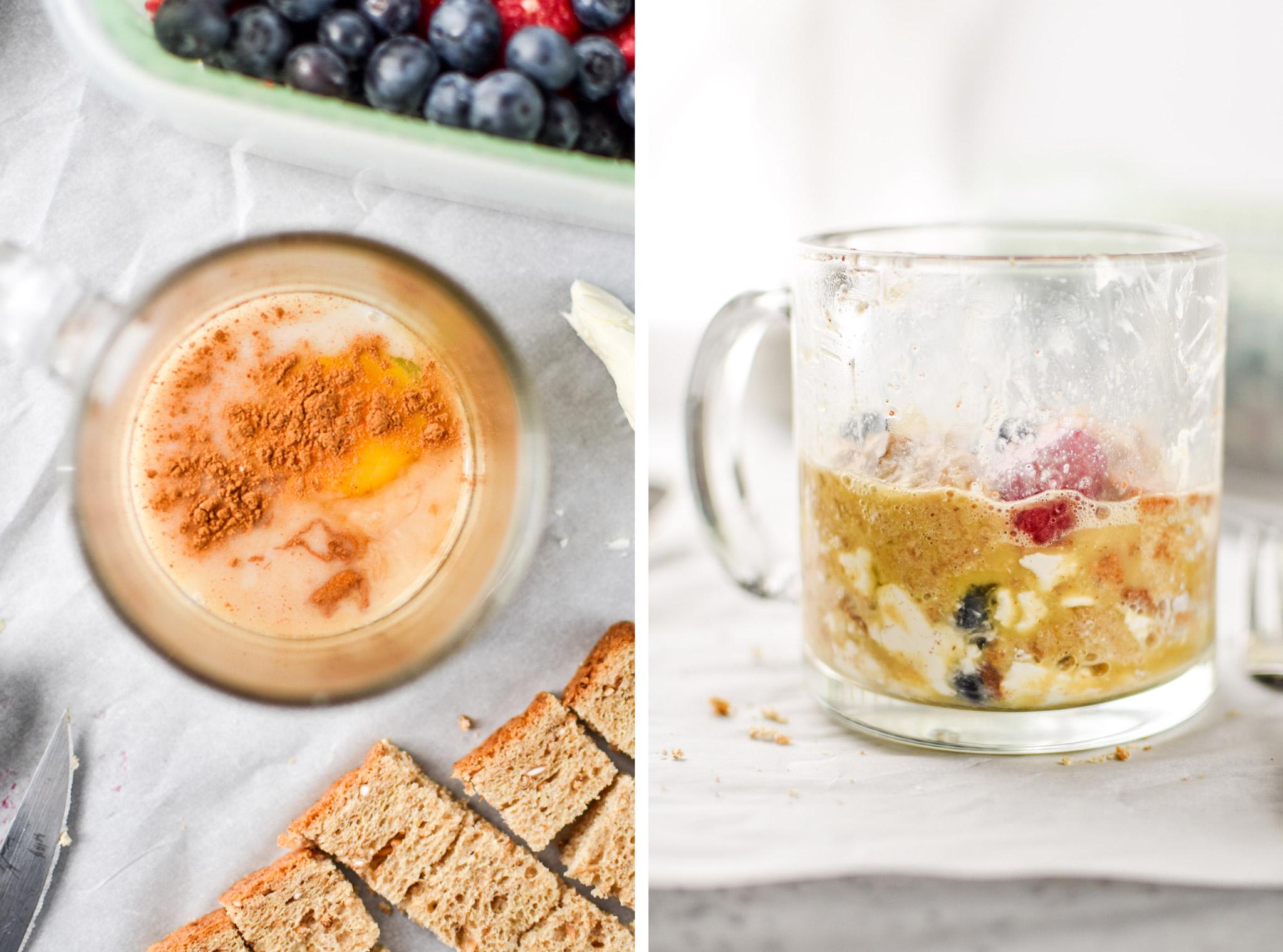 making the berries & cream microwave mug french toast
