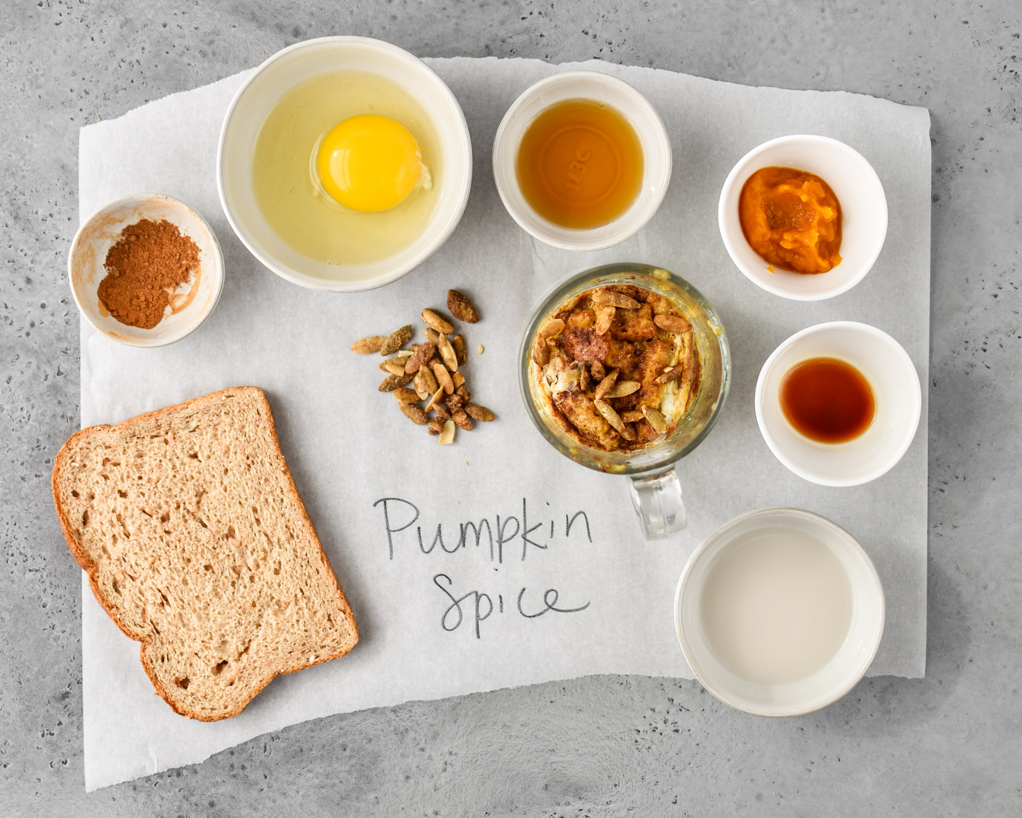 ingredients for pumpkin spice microwave mug french toast