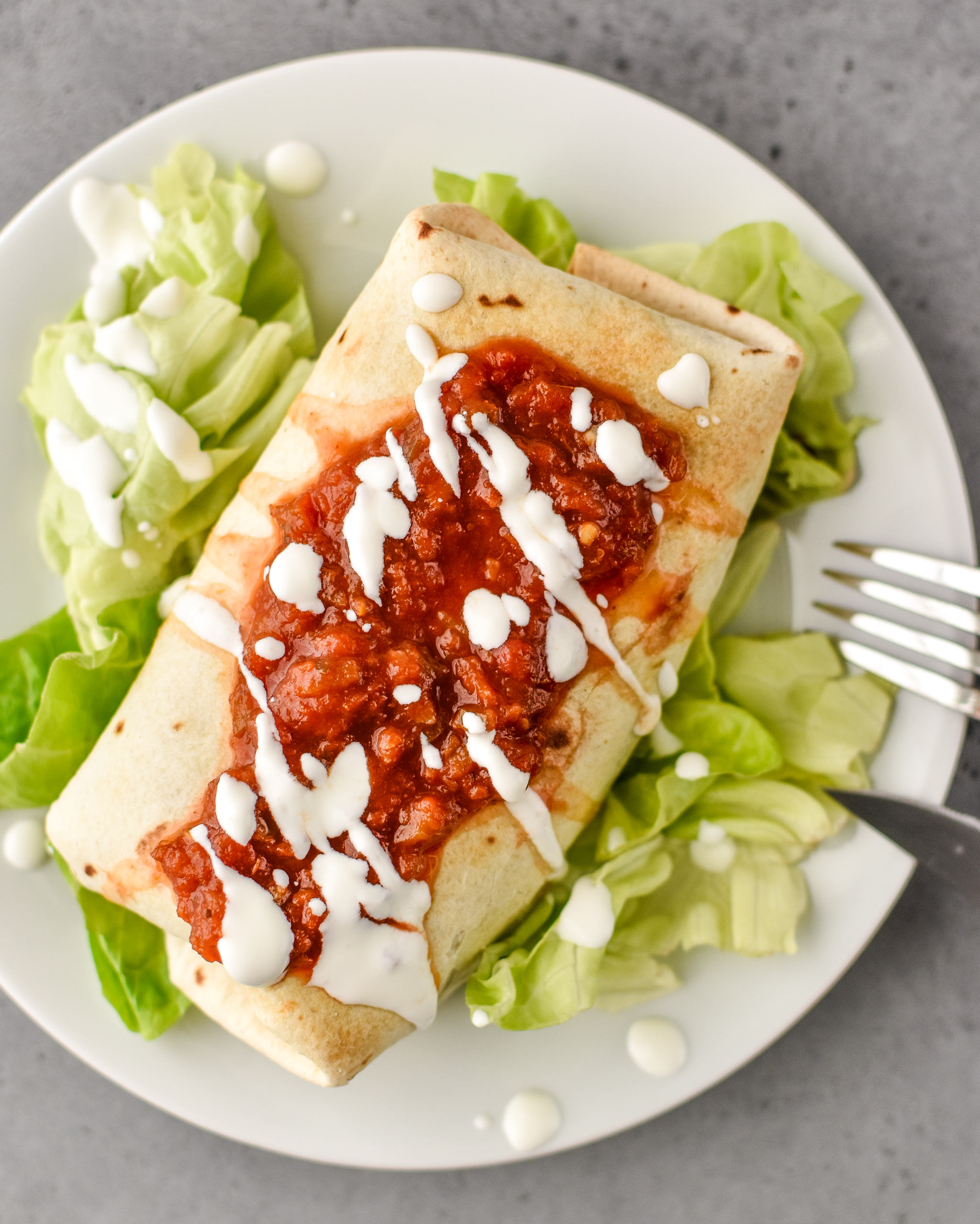 How to make chimichangas in an air fryer - chimichanga with salsa and lettuce