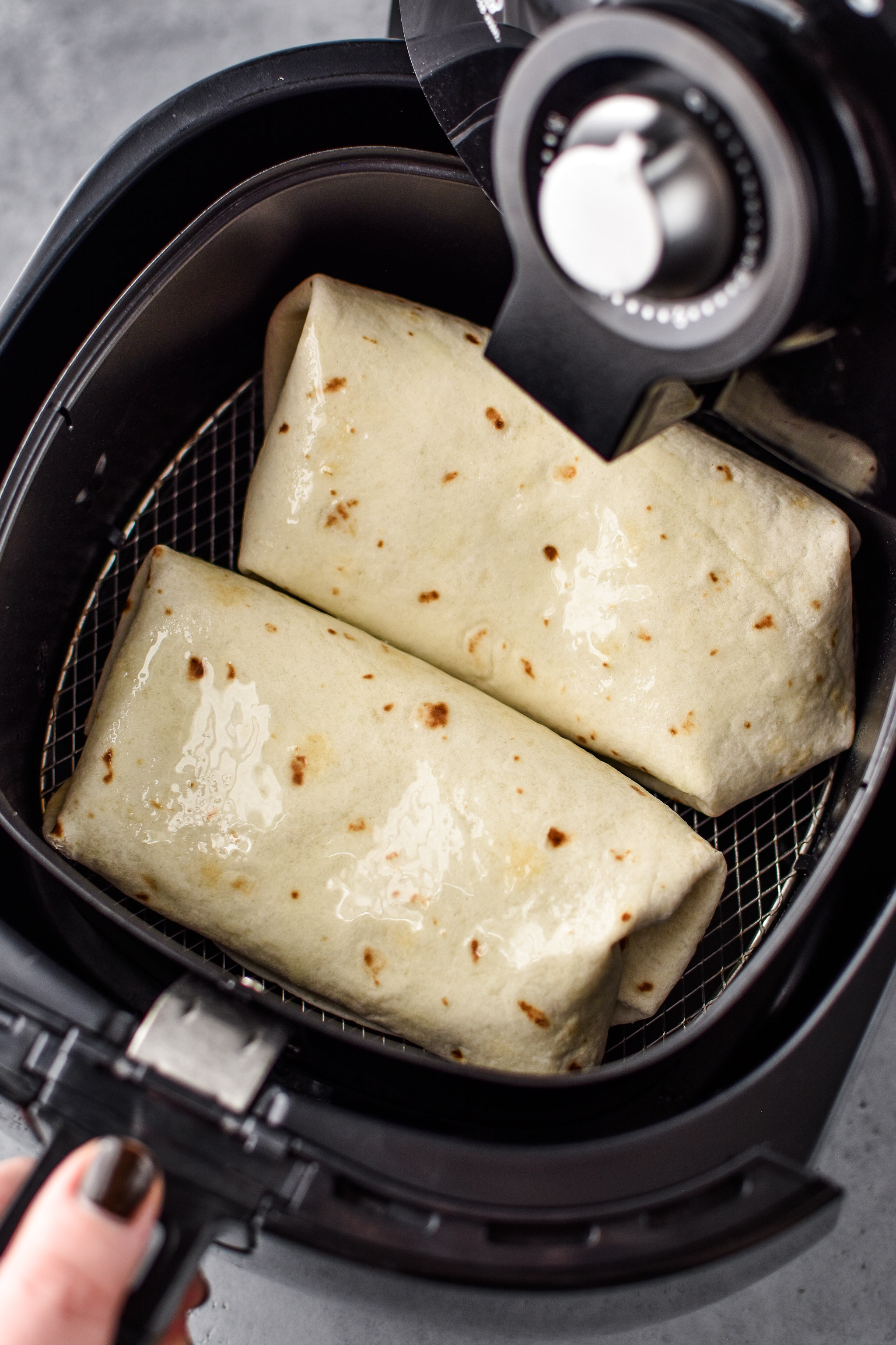 sprayed with oil - how to make chimichangas in an airy fryer