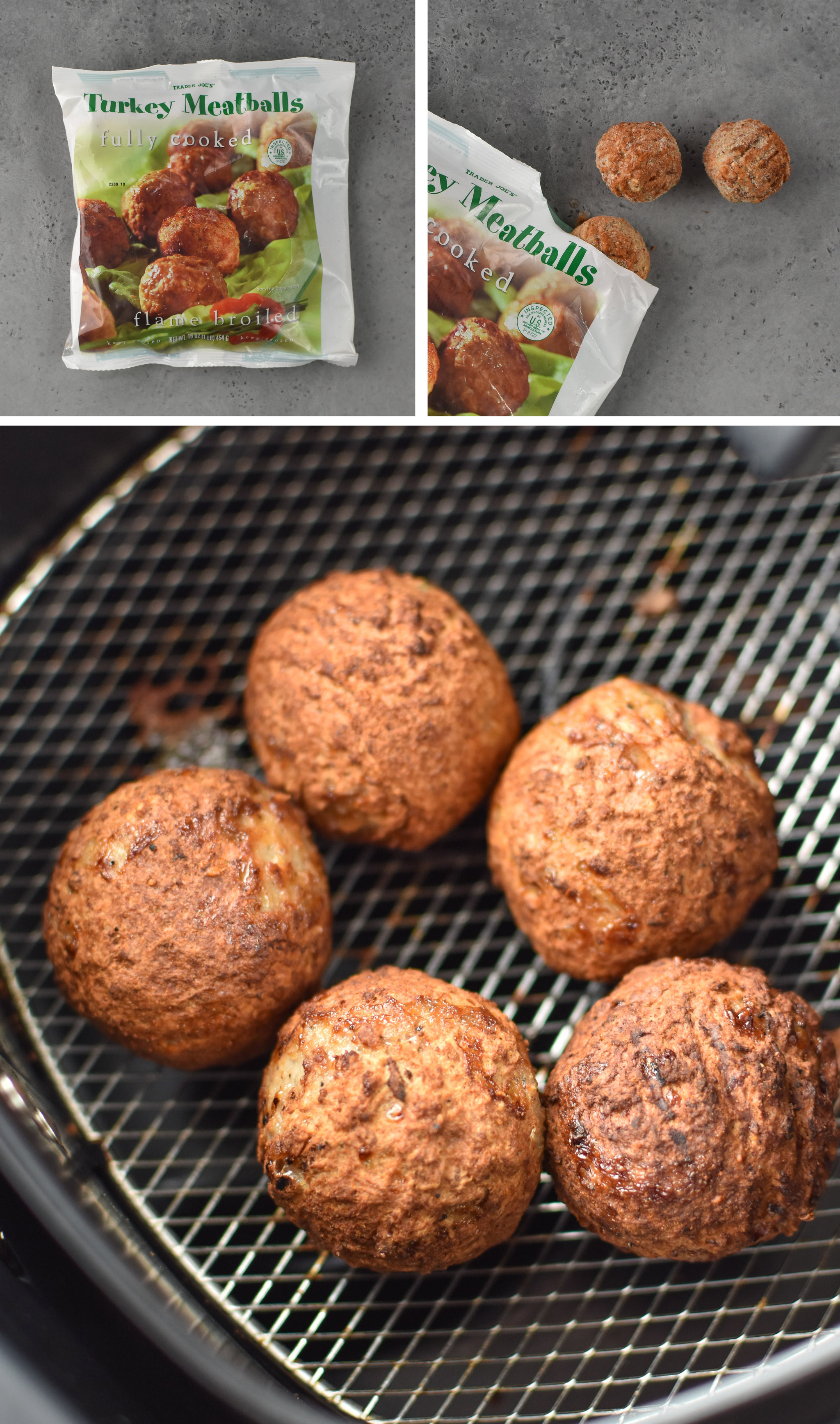 Turkey meatballs from Trader Joe's made in the air fryer