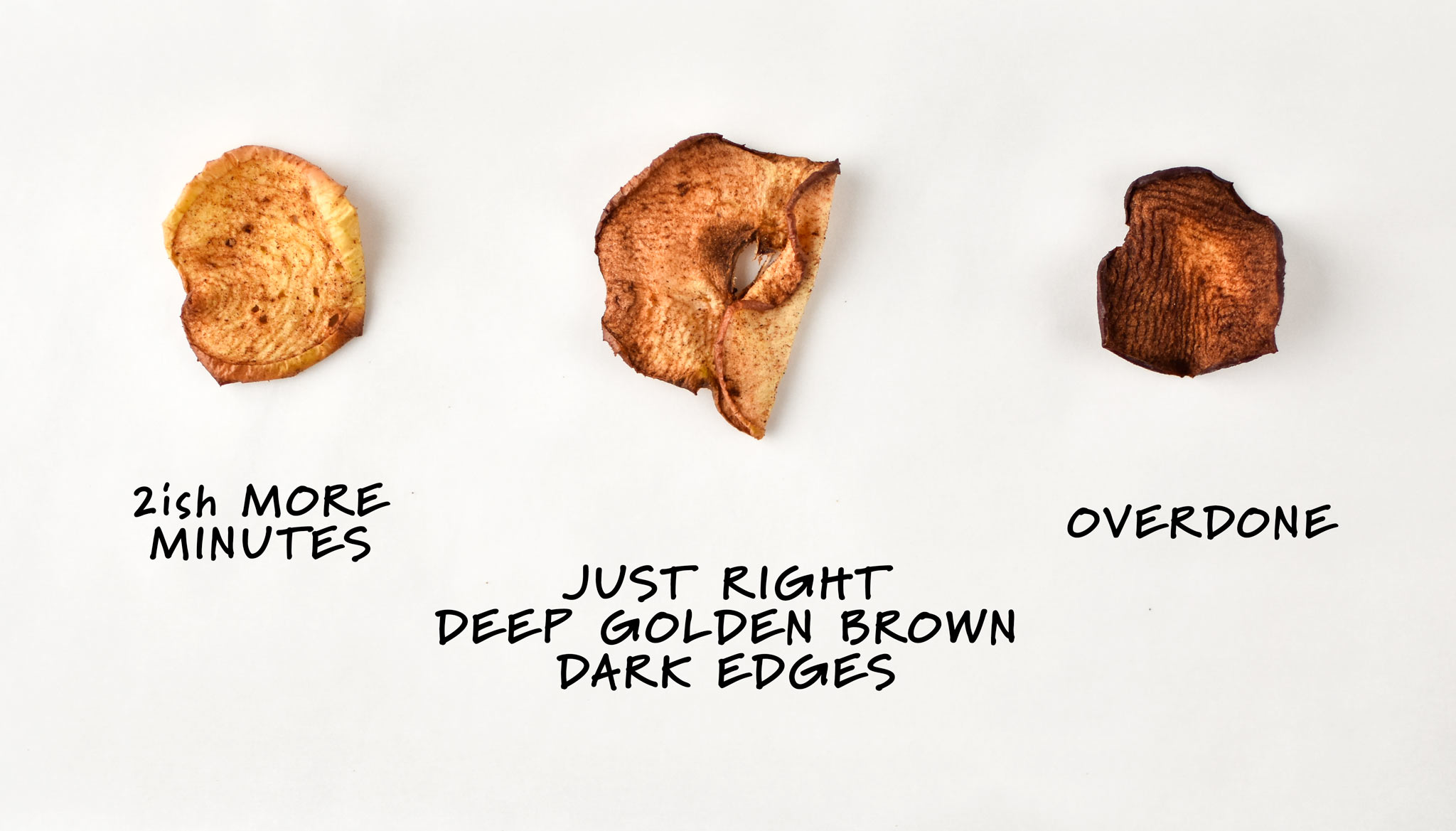 A diagram for how to make apple chips in an air fryer. Left needs 2ish more minutes, middle is just right with deep golden brown edges, and right is overdone.
