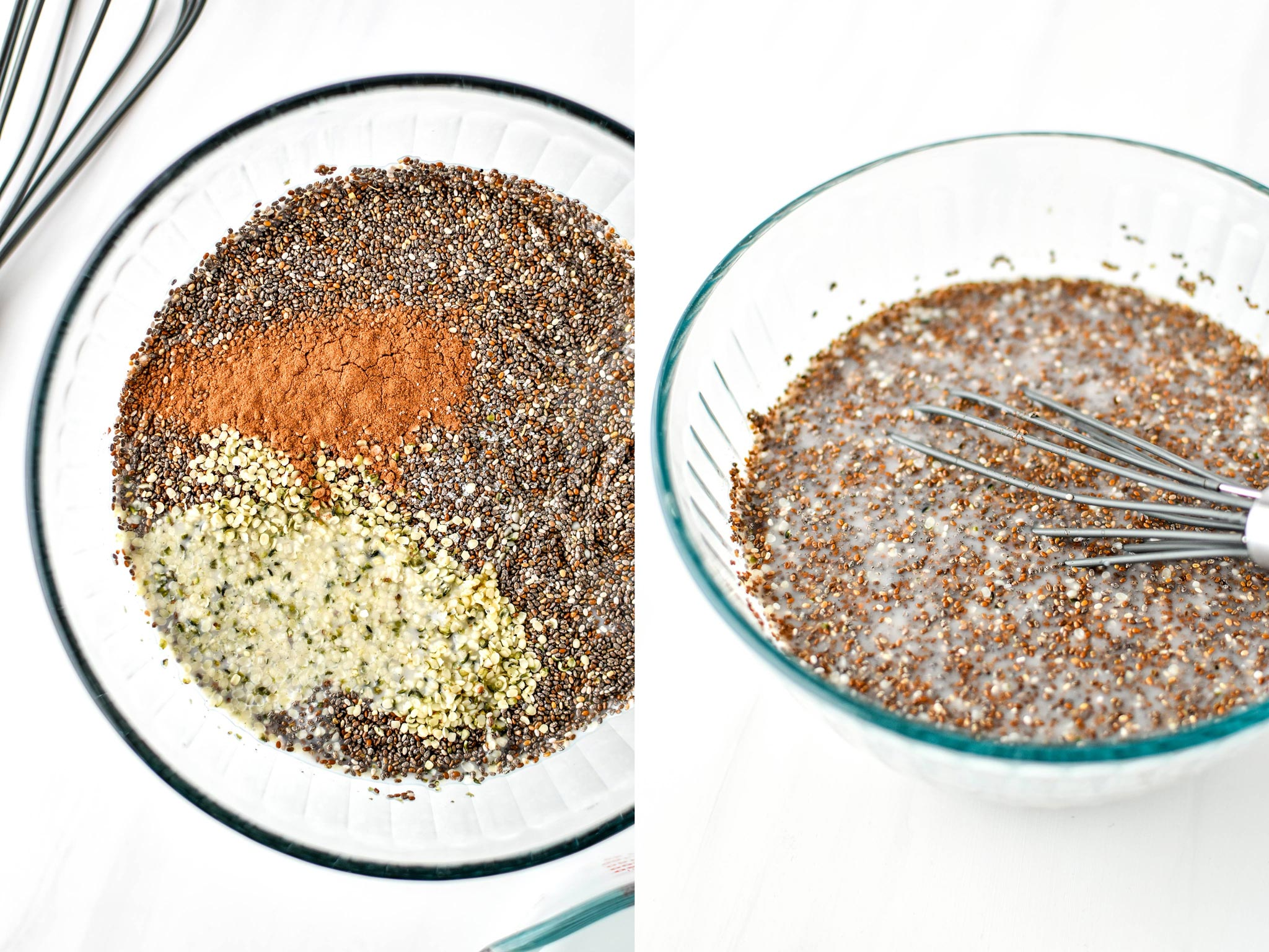Mixing up chia seeds with almond milk to create chia pudding breakfast parfaits.