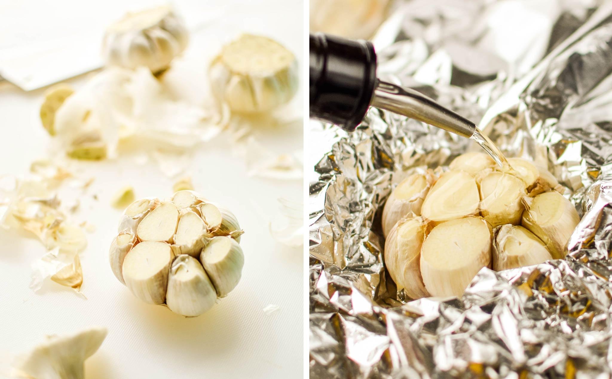 cutting a head of garlic to roast in the air fryer
