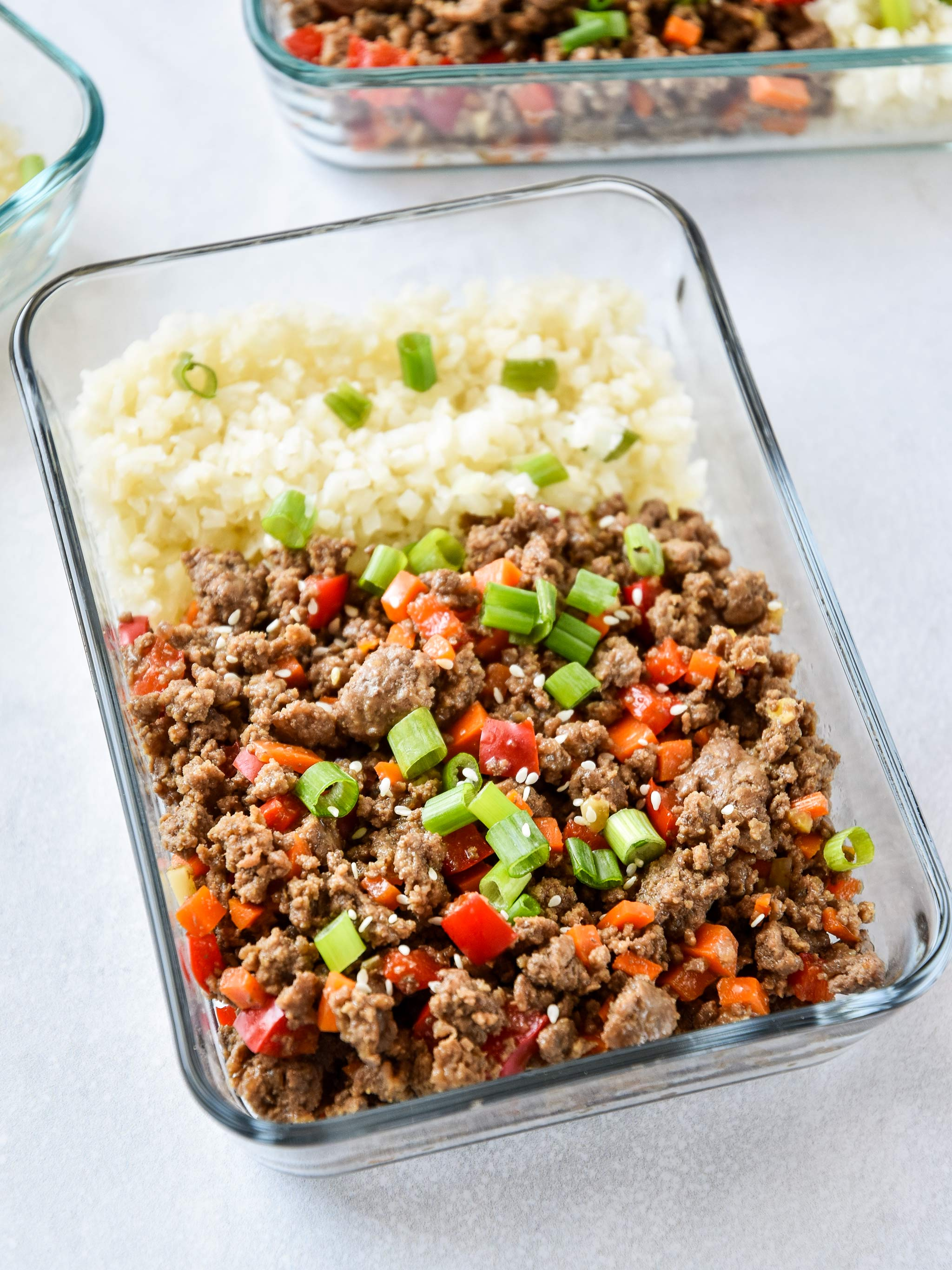 Meal prep Ginger Ground Beef Bowls Whole30 and paleo in a pyrex meal prep container