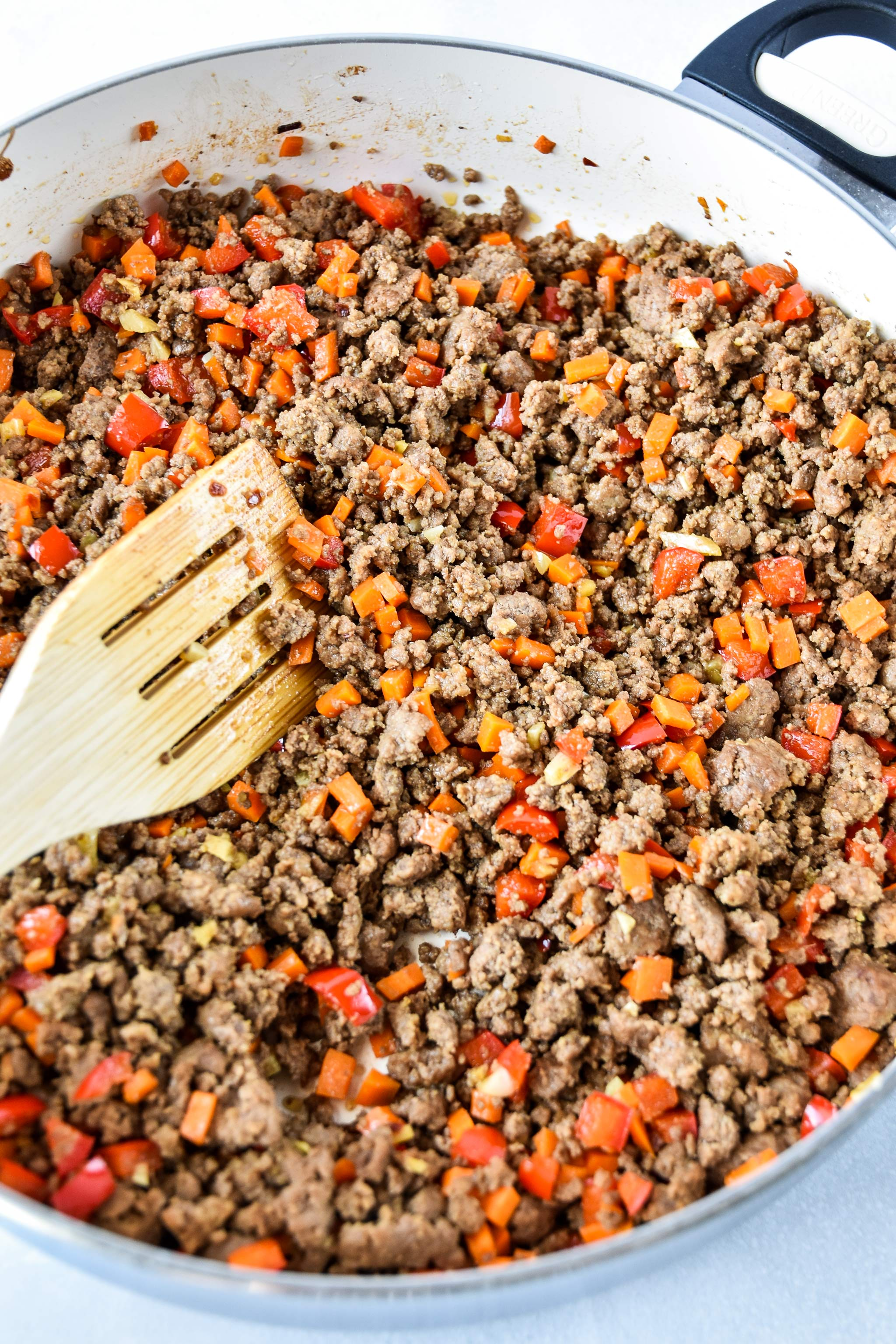 ginger ground beef bowls cooked in a skillet