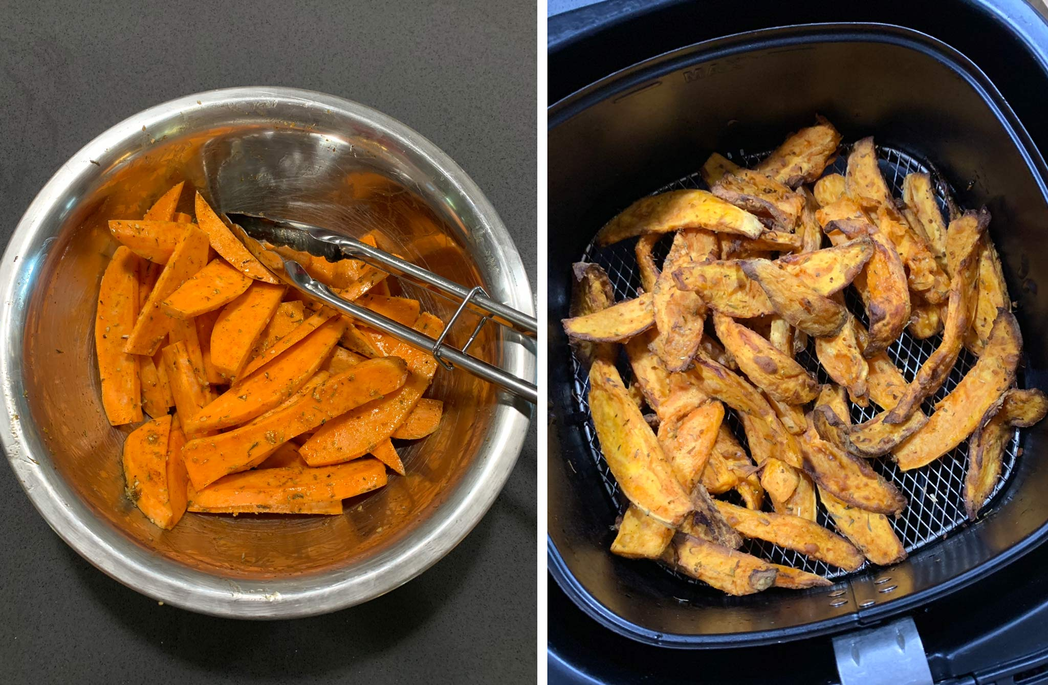 sweet potato fries cooked in the air fryer - one of the first air fryer recipes I tried