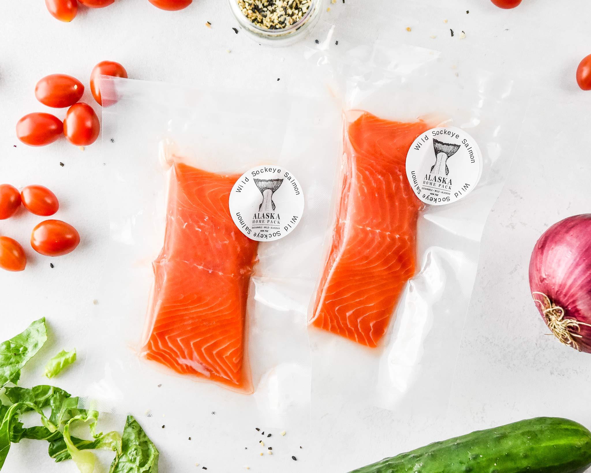 wild sockeye salmon filets for the everything bagel salmon salad bowls