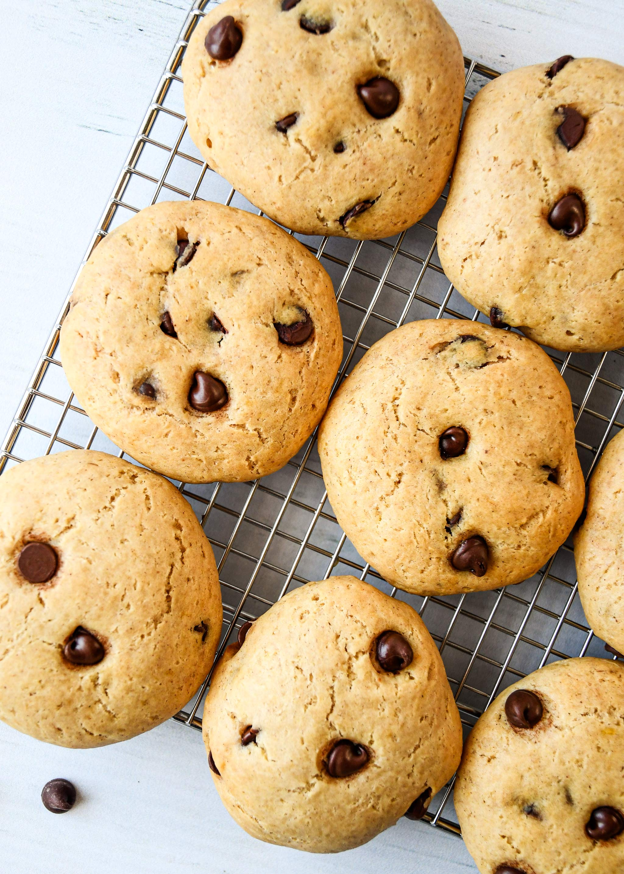 Chocolate chip Pancake mix cookies on a cooling rack