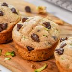 golden brown pancake mix zucchini muffins with chocolate chips