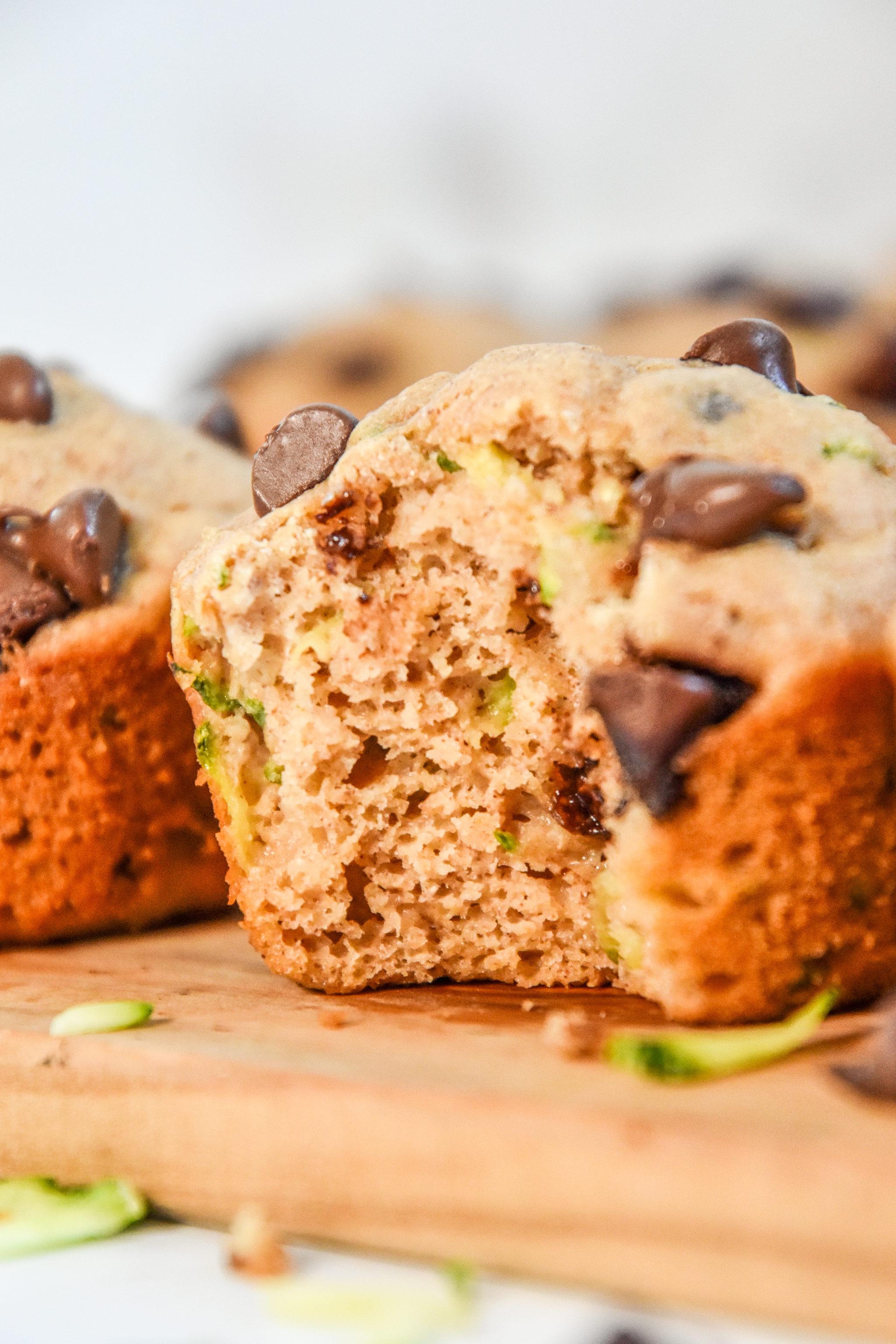 inside texture shot of a pancake mix zucchini muffin