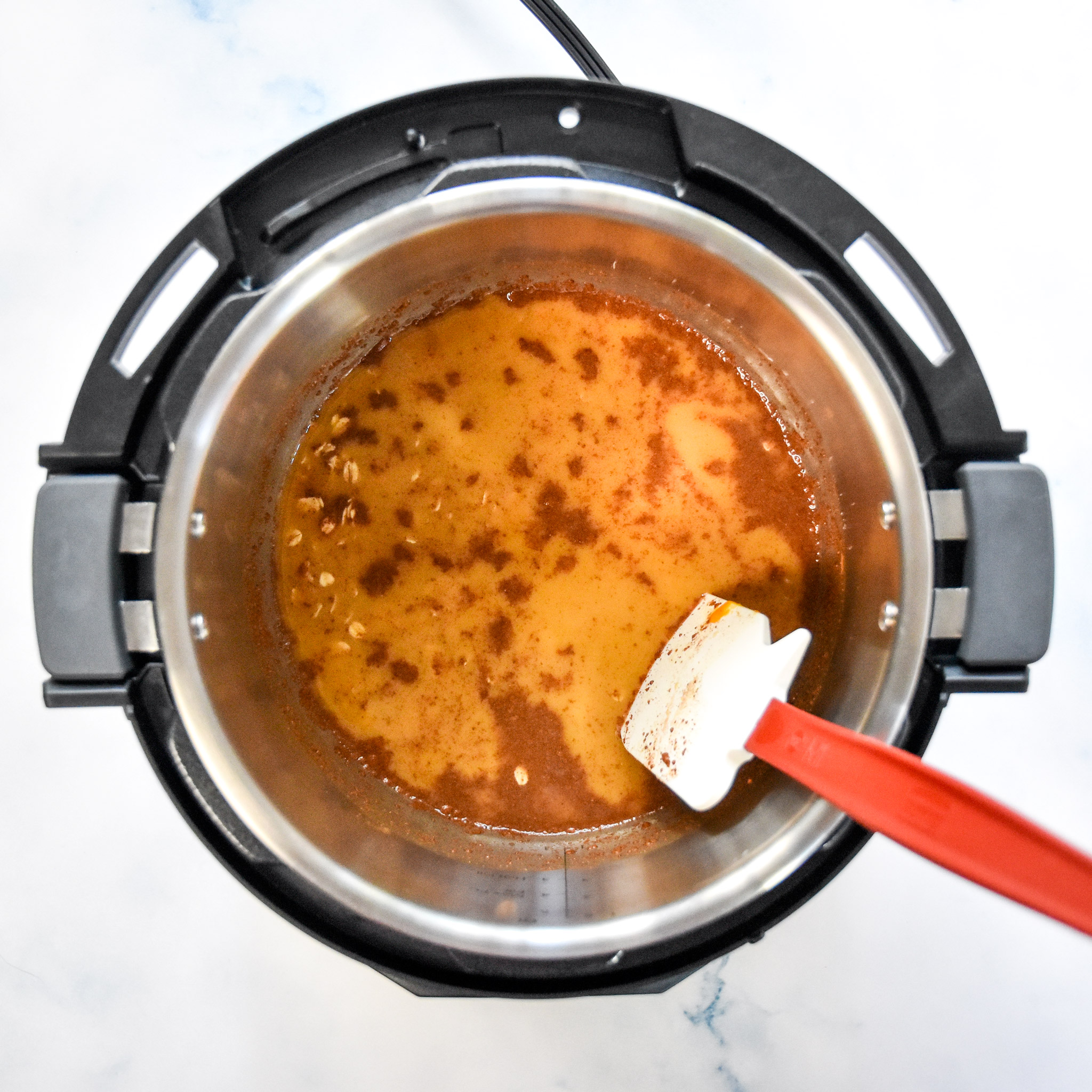 ingredients in the instant pot stirred up.
