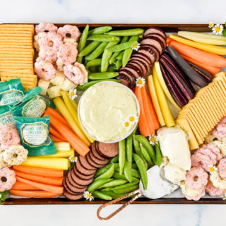 finished trader joe's spring snack board seen from above.
