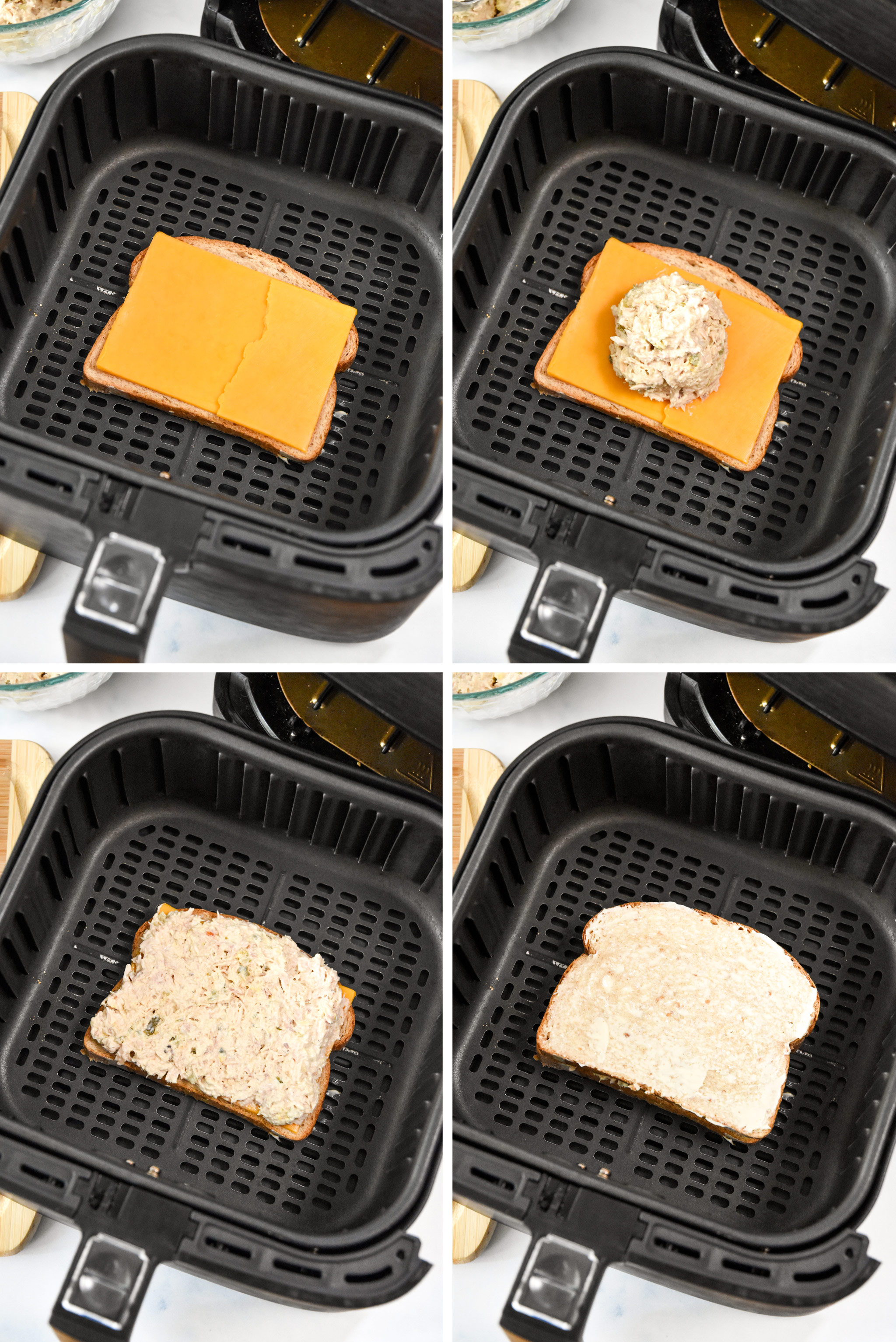 4 steps for assembling the air fryer tuna sandwich.