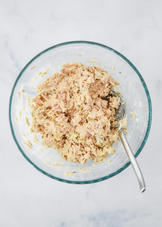 lazy no chop tuna salad all mixed up in a bowl.