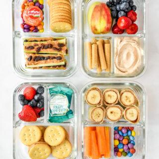 overhead shot of 4 4 Peanut Butter Snack Box Meal Prep Ideas.